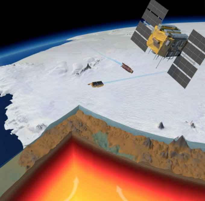 roca madre de la Antártida por satélite
