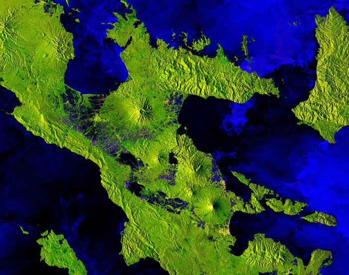 volcán Mayon, Filipìnas, desde satélite