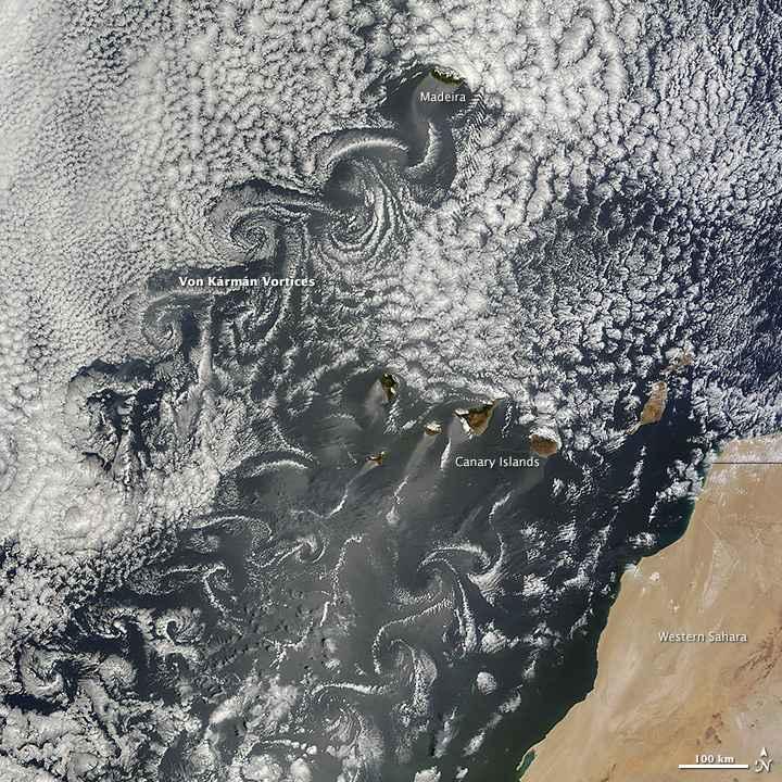 Islas Canarias rodedas por vórtices de Von Karman