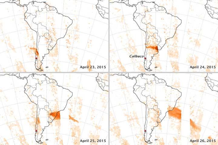 emisión de dióxido de azufre del volcán Calbuco