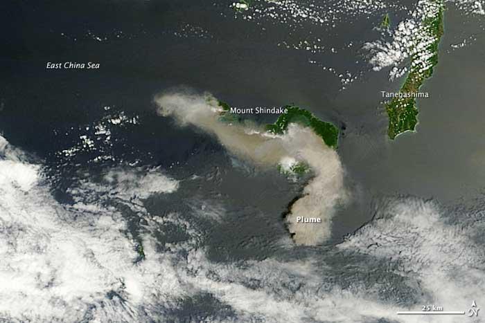 erupción Montre Shindake desde el espacio