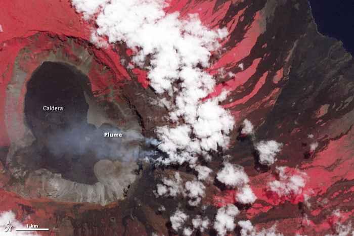 erupción del volcán Wolf desde satélite