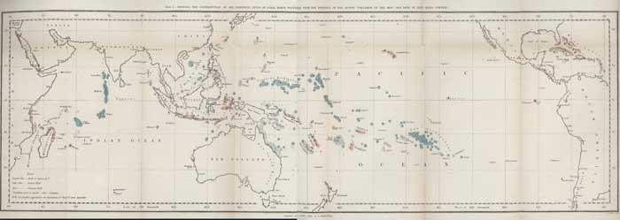 mapa de arrecifes de coral de Darwin