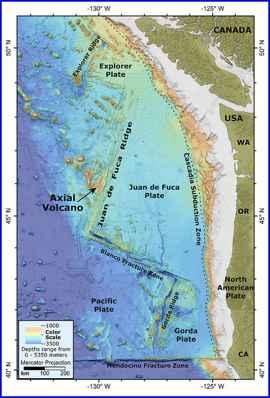 mapa del volcán submarino Axial