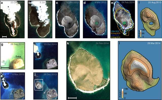 nacimiento de islas volcánicas en el Mar Rojo