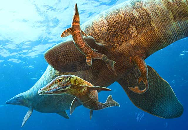 nacimiento de mosasaurios en mar abierto