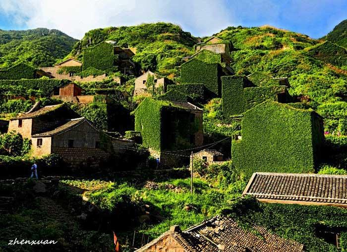pueblo pesquero abandonado en la isla Gouqi, China