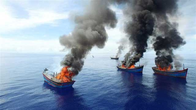 quema de pesqueros vietnamitas en Palau