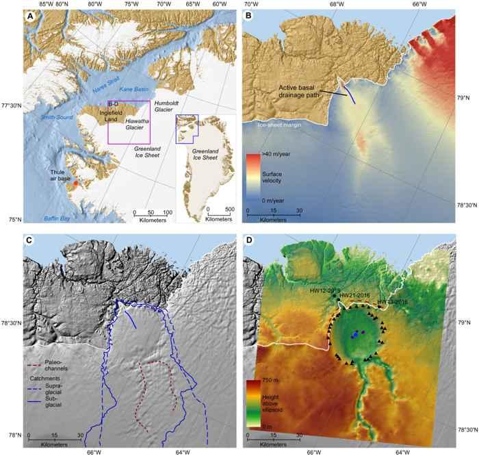 mapa del Glaciar Hiawatha, Groenlandia