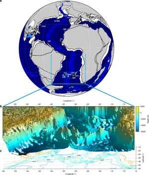 geografía y batimetría hace 59 millones de años