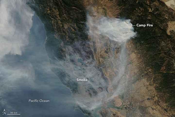 incendio forestal Camp, California el 12 de noviembre de 2018