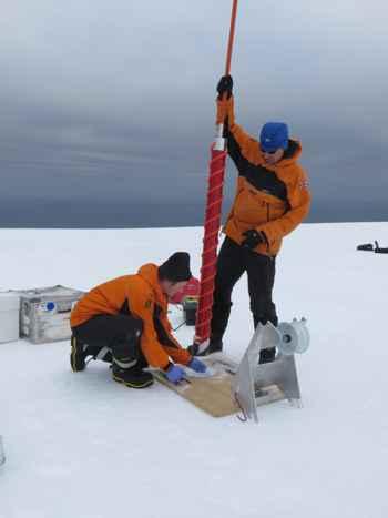 perforación del hielo en la isla Bouvet