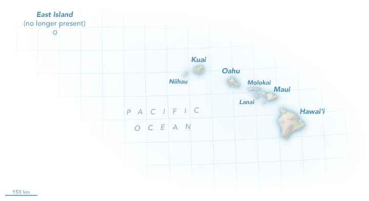 mapa de las islas de Hawái