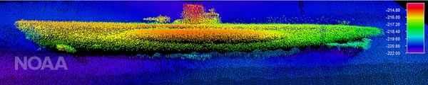 imagen sonar del submarino alemán U-576