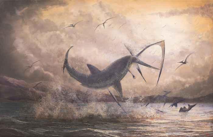 tiburón prehistórico ataca a un Pteranodon