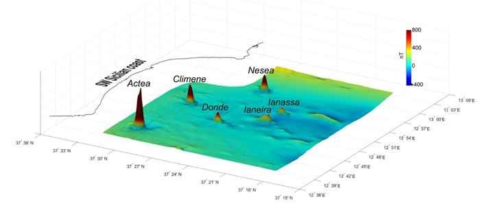 anomalía magnética en los volcanes submarinos de Sicilia