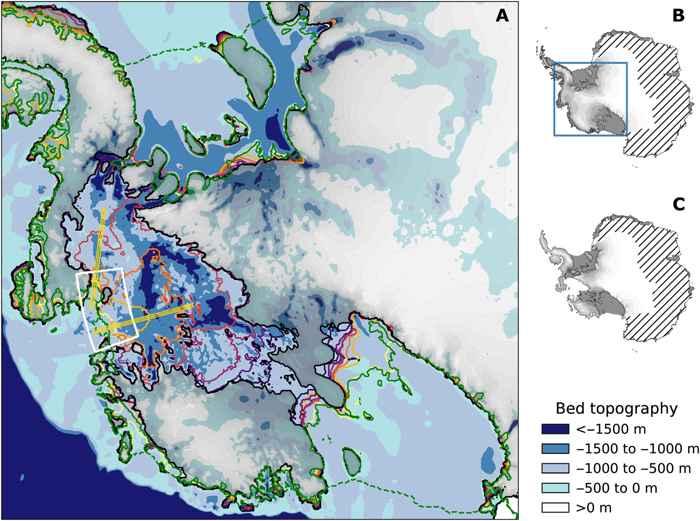 lugar de las nevadas en la capa hielo de la Antártida