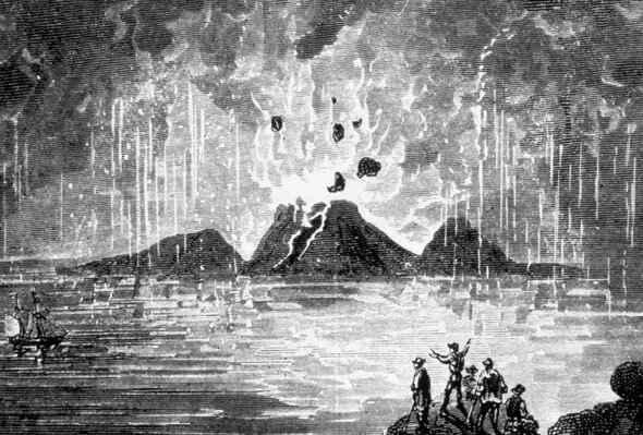 erupción del volcán Thera