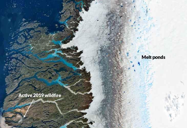 estanques de deshielo en Groenlandia
