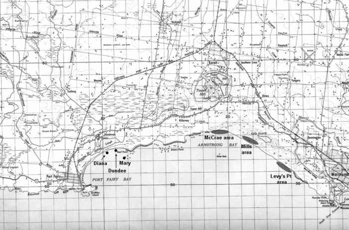 mapa de Port Fairy con una carabela