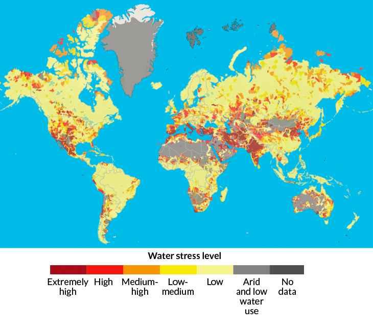 mapa de estrés hídrico