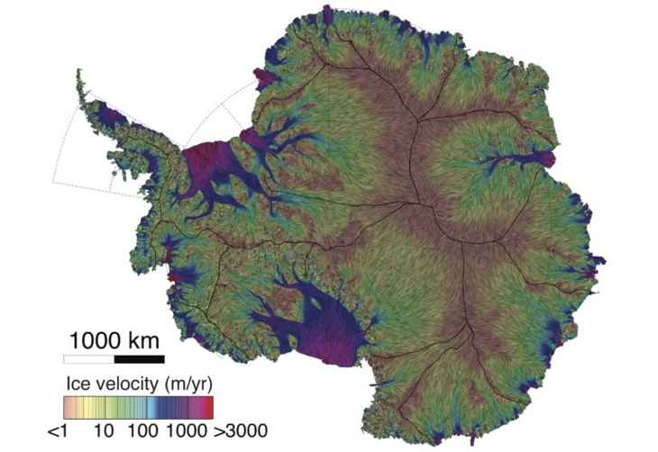 mapa de la velocidad del hielo en la Antártida