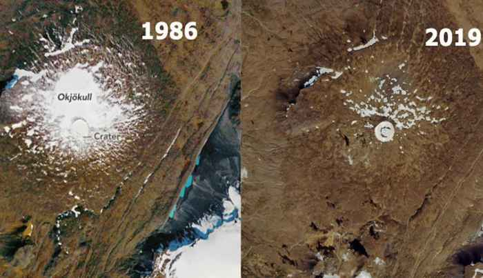 glaciar Okjökull 1986-2019