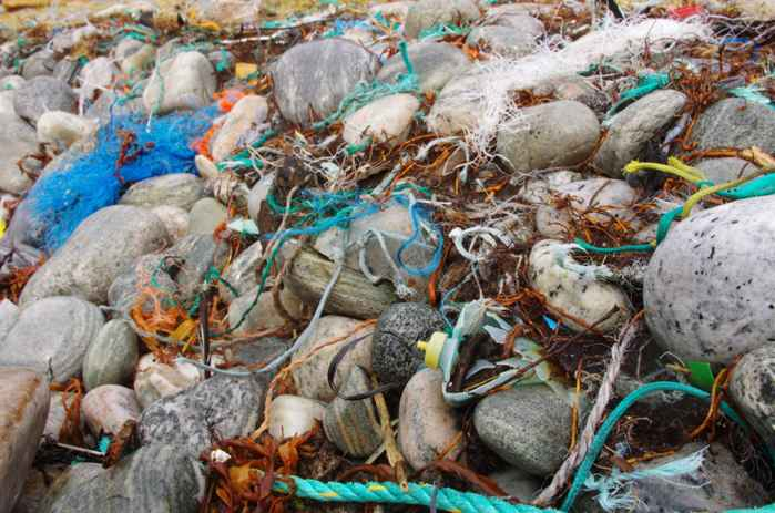 plásticos en una playa