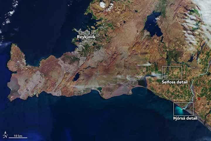 ríos Þjórsá y Ölfusá, Islandia