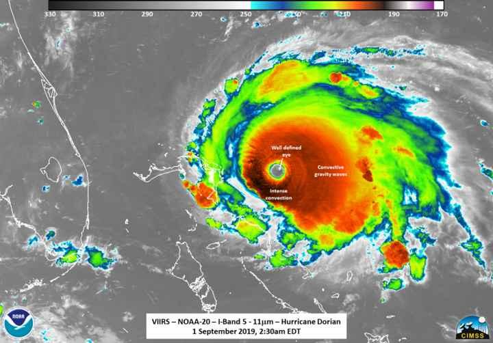 el huracán Dorian el 01-09-2019