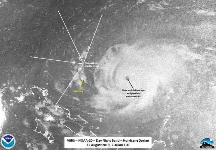 huracán Dorian desde el satélite NOAA-20