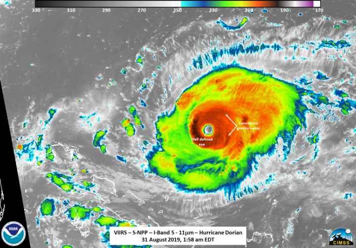 huracán Dorian desde el satélite Suomi NPP