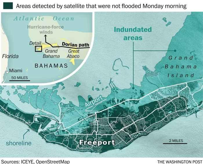 áreas inundadas en Bahamas
