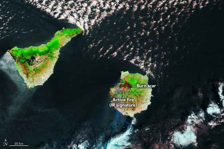 incendios forestales de Gran Canaria desde satélite