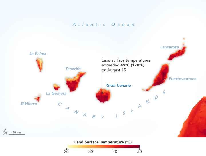 mapa de temperaturas en tierra de las Islas Canarias