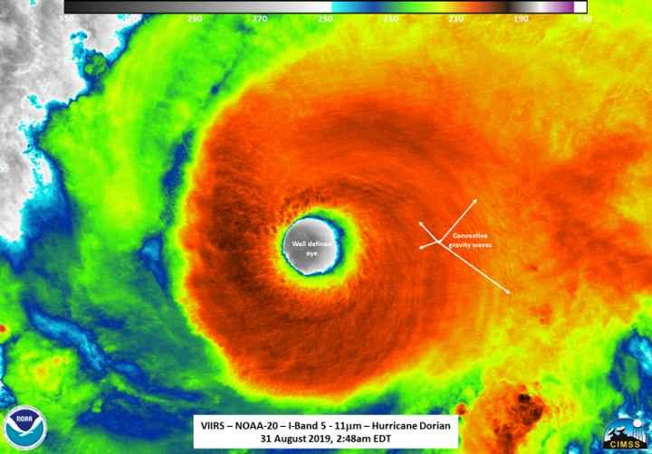 ojo del huracán Dorian desde el satélite NOAA-20