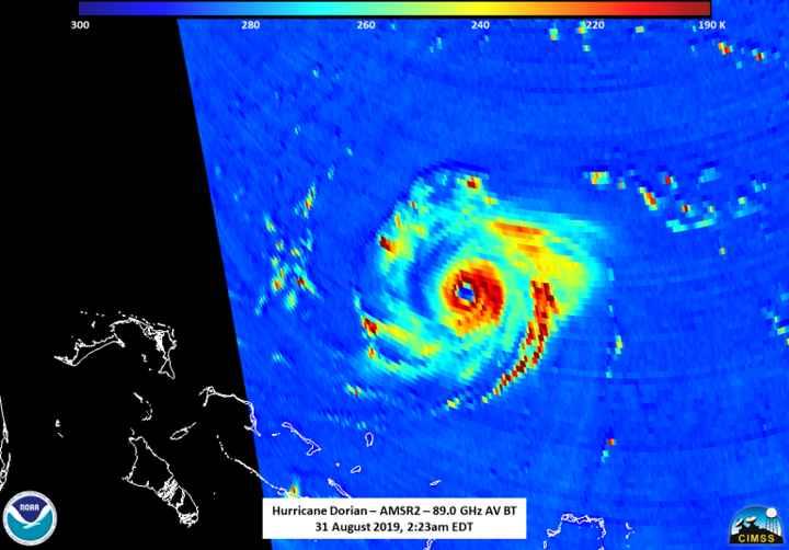 ojo del huracán Dorian desde el satélite Shizuku