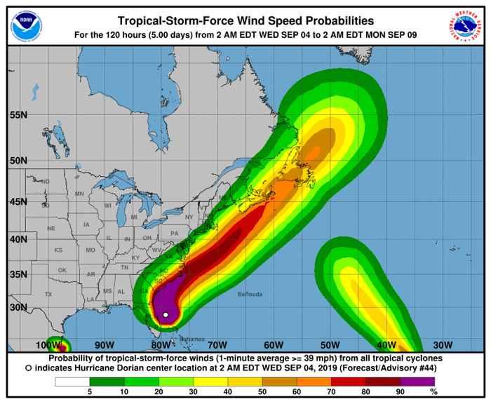 trayectoria prevista del huracán Dorian