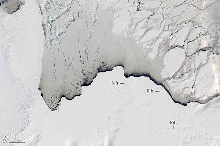 grietas de hielo en la plataforma Amery