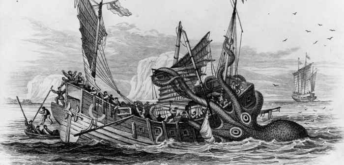 kraken atacando un barco barco