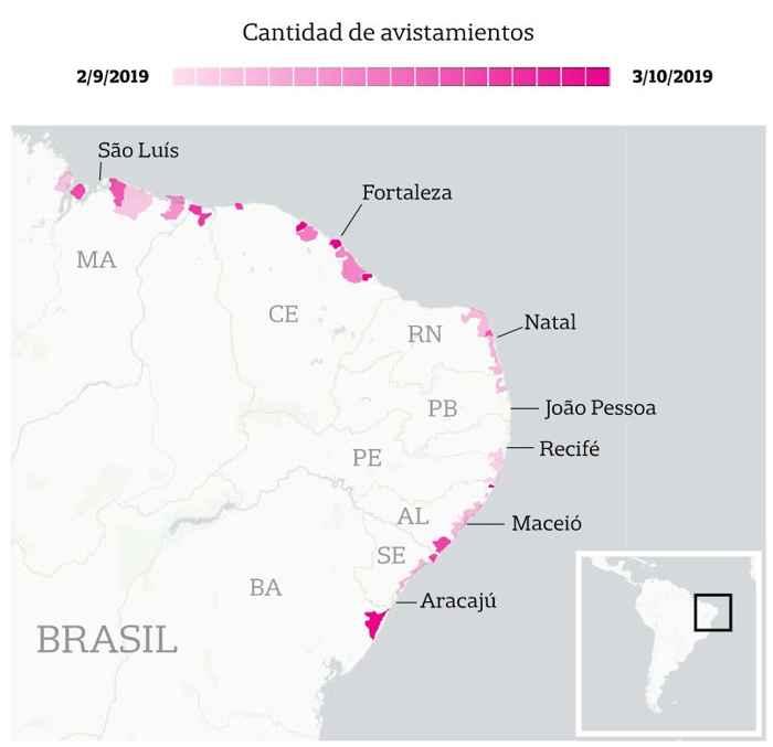 lugares afectados por el derrame de petróleo en Brasil
