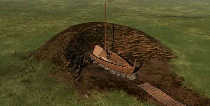 barco vikingo en el túmulo de tierra