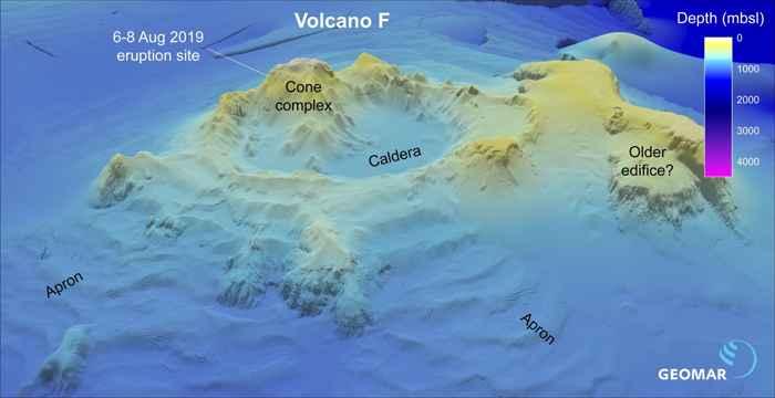 batimetría de volcán F