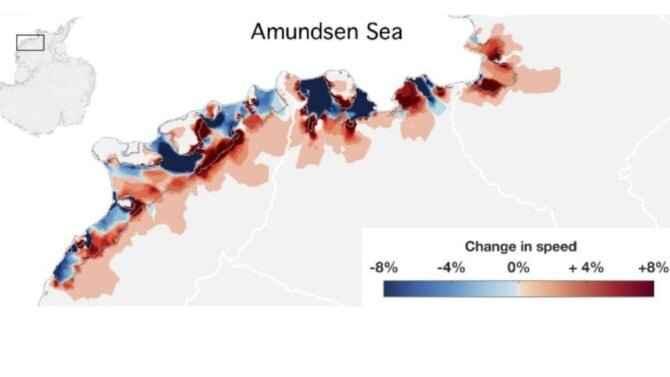 cambios en el flujo de hielo en la Antártida