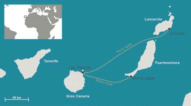 trayectos de ferrys en las Islas Canarias