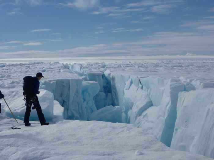 grieta en la capa de hielo de Groenlandia