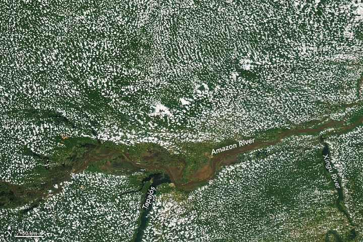 nubes de vapor de agua en el río Amazonas