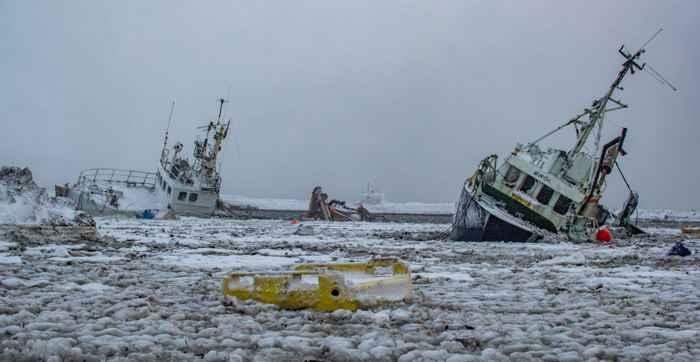 barcos hundidos en la avalancha de Flateyri