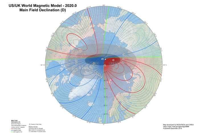 desplazamiento del Polo Norte de la Tierra