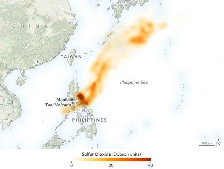 emisiones de sulfuro a la estratosfera del volcán Taal